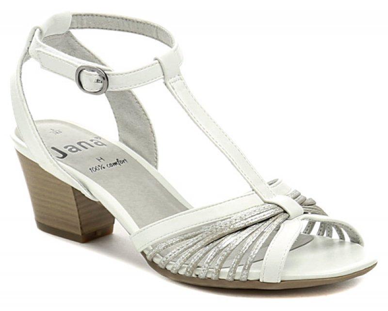 Jana 8-28309-38 bílé dámské sandály šíře H  7e143d5022