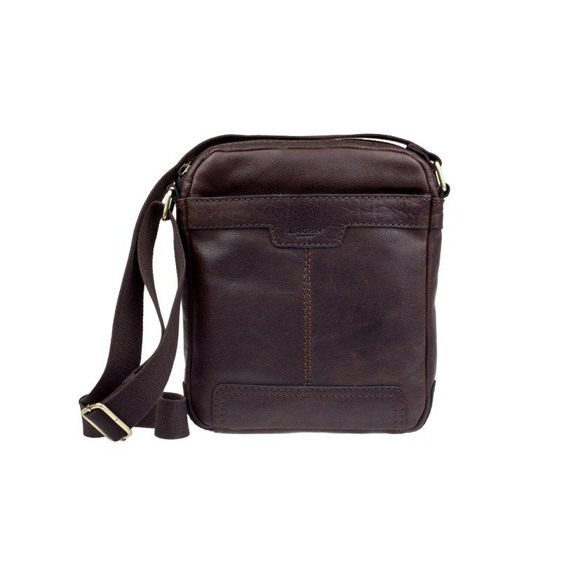 Lagen LN 20654 tmavě hnědá kožená taška přes rameno