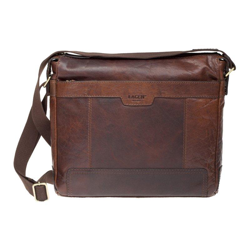 Lagen LN 20653 hnědá kožená taška přes rameno