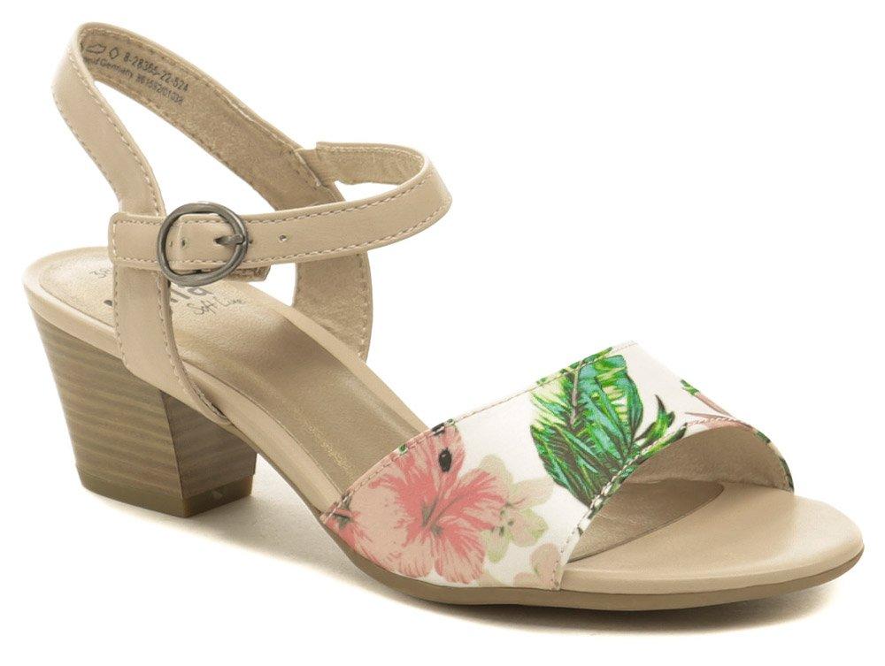 c98f468ed94d Jana 8-28365-22 béžové květované dámské sandály šíře H