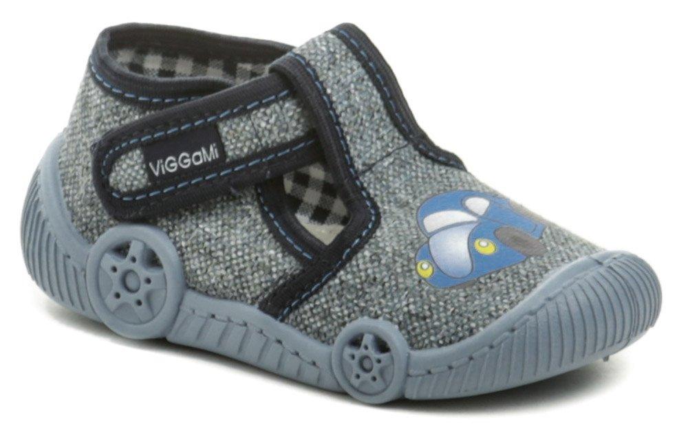 Vi-GGa-Mi šedo modré dětské plátěné bačkůrky AUTO EUR 22